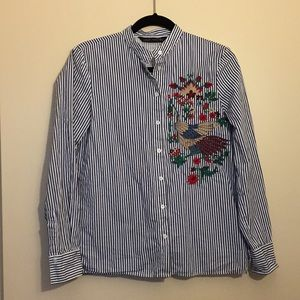ZARA band collar striped embroidered button up S